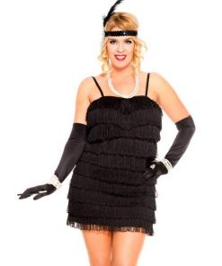 1920s Black Flaming Flapper Womens Plus Size Costume