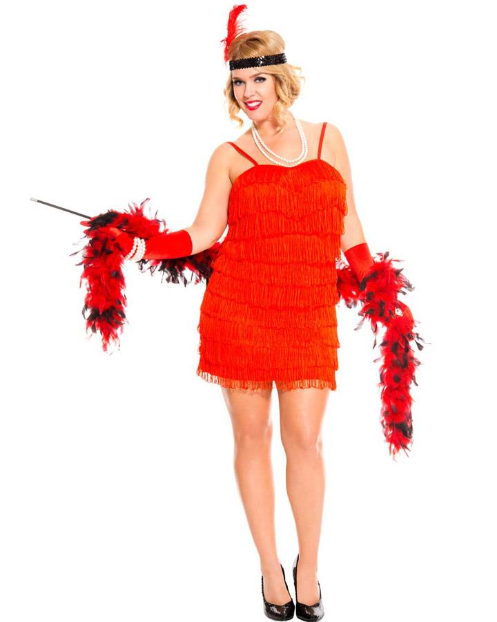 1920s Red Flaming Flapper Womens Plus Size Costume