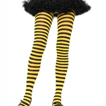 Black and Yellow Striped Plus Size Tights