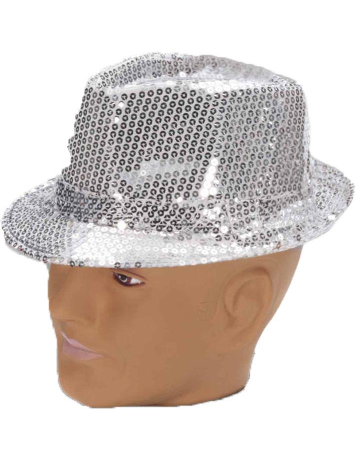 Silver Sequined Fedora Hat