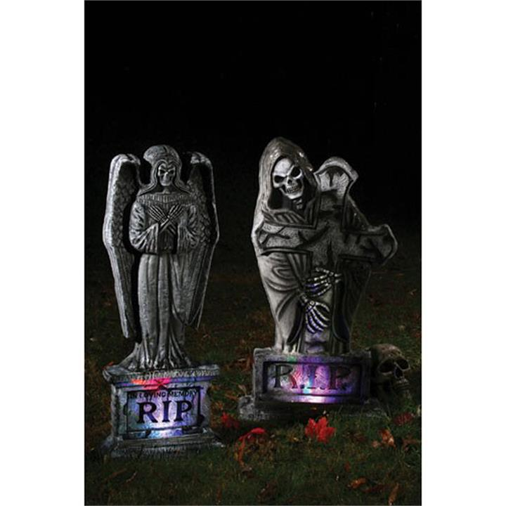 30 Inch Light Up Skeleton Gothic Tombstone