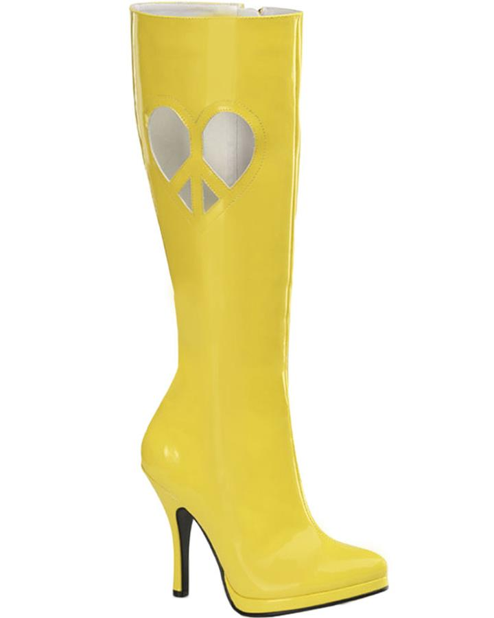 60s Love Boots Womens Yellow Patent