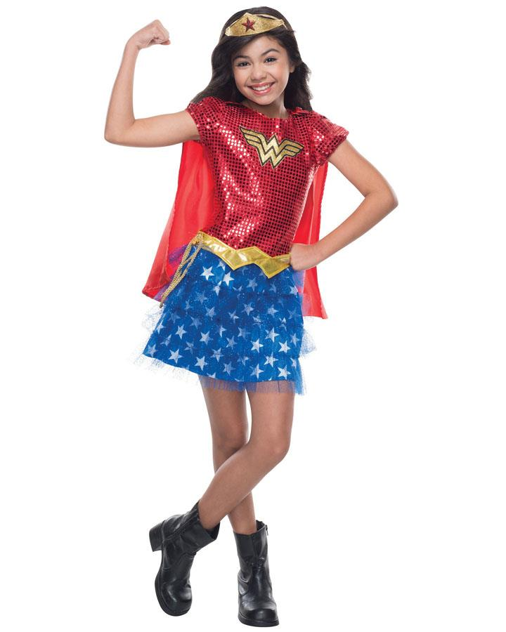 Wonder Woman Sequinned Girls Costume