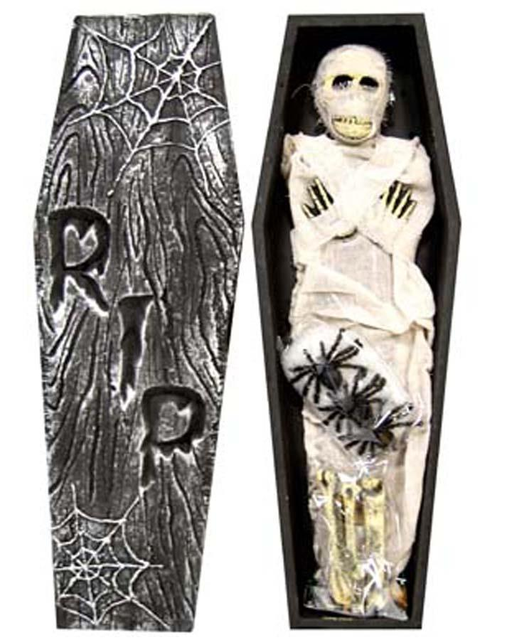 Mummy in Coffin with Bones and Spiders 70cm