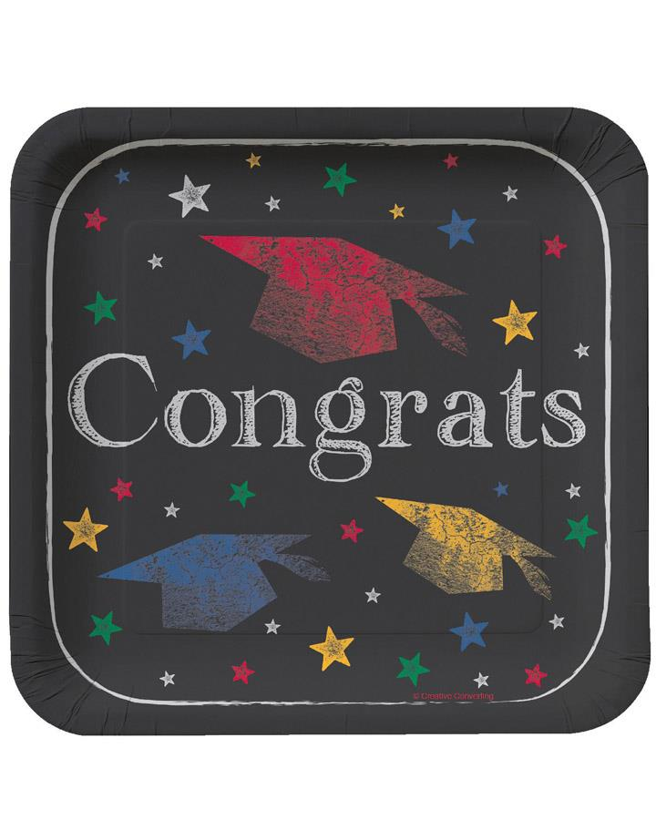 Chalk it Up Graduation 18cm Lunch Plates Pack of 8