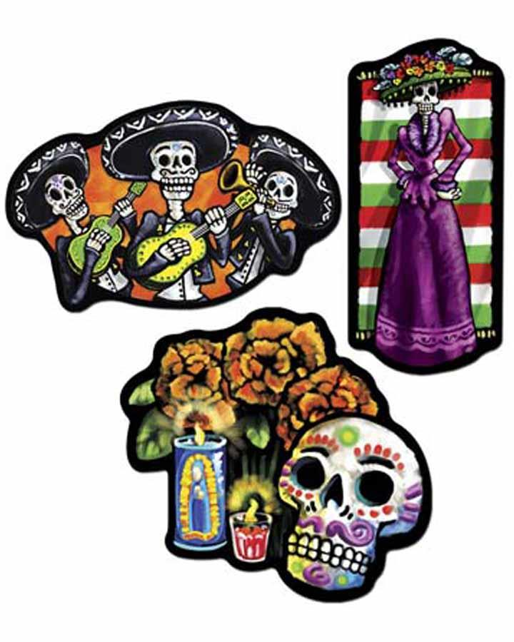 Day of the Dead Cut Outs Pack of 3