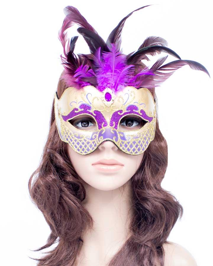 Gold Mask with Purple Feather