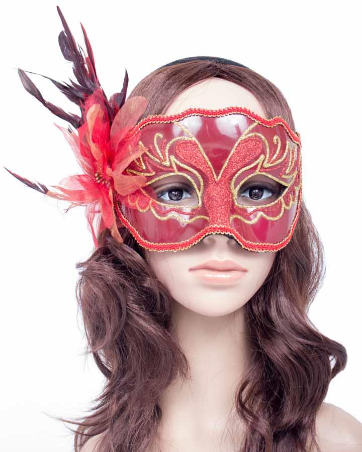 Red Mask with Gold Trim and Feather