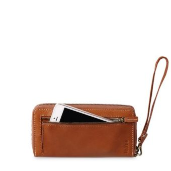 Open zip wallet Tan