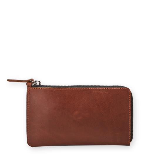 Banjo leather zip pouch Brown