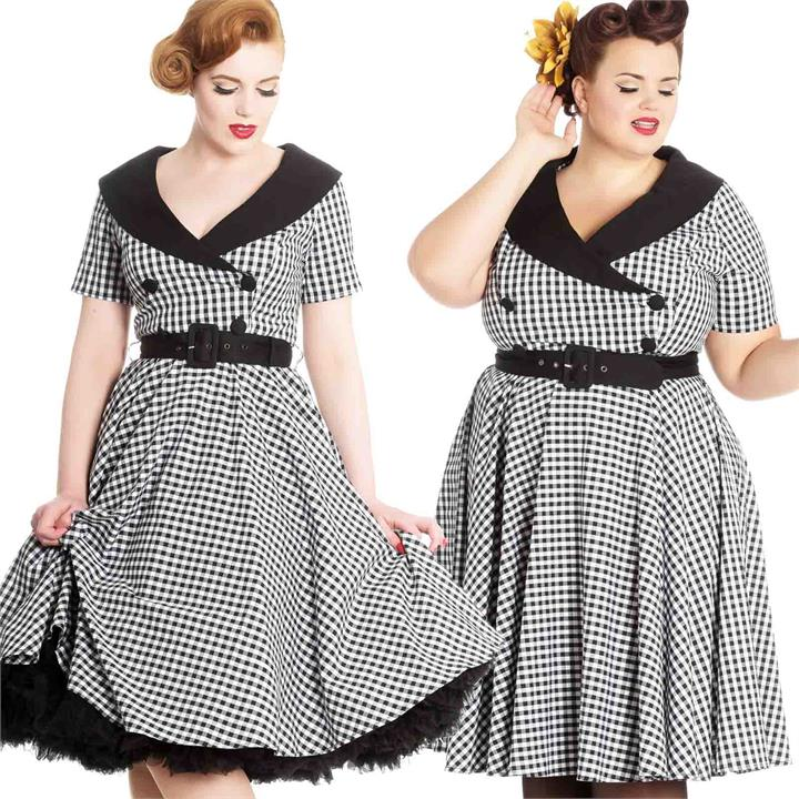 Hell Bunny Bridget Gingham Swing Dress Black/White 50s Rockabilly Retro Vintage