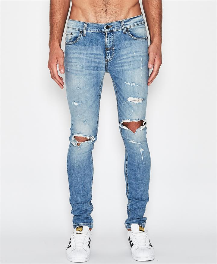 1990 Destroyed Skinny Jeans Faded Blue