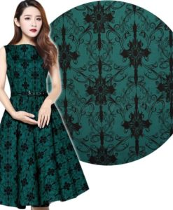 50's Green Printed Sleeveless Swing Dress Rockabilly Retro Classic Audrey Prom