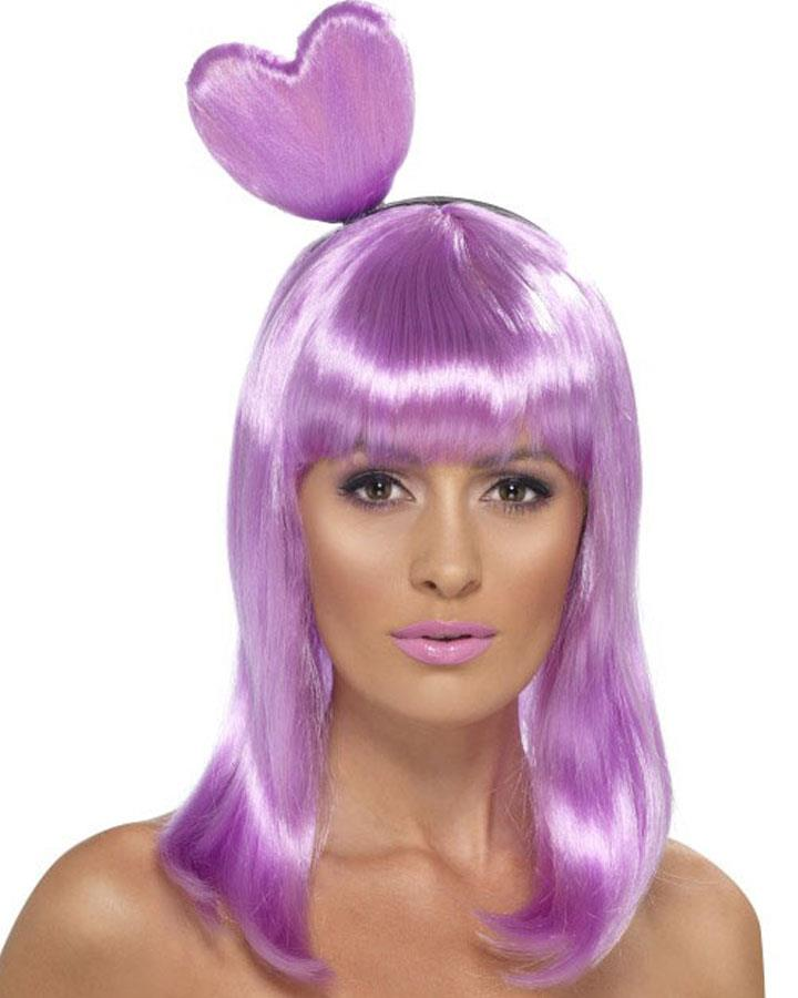 Katy Candy Queen Lilac Wig with Heart Headband