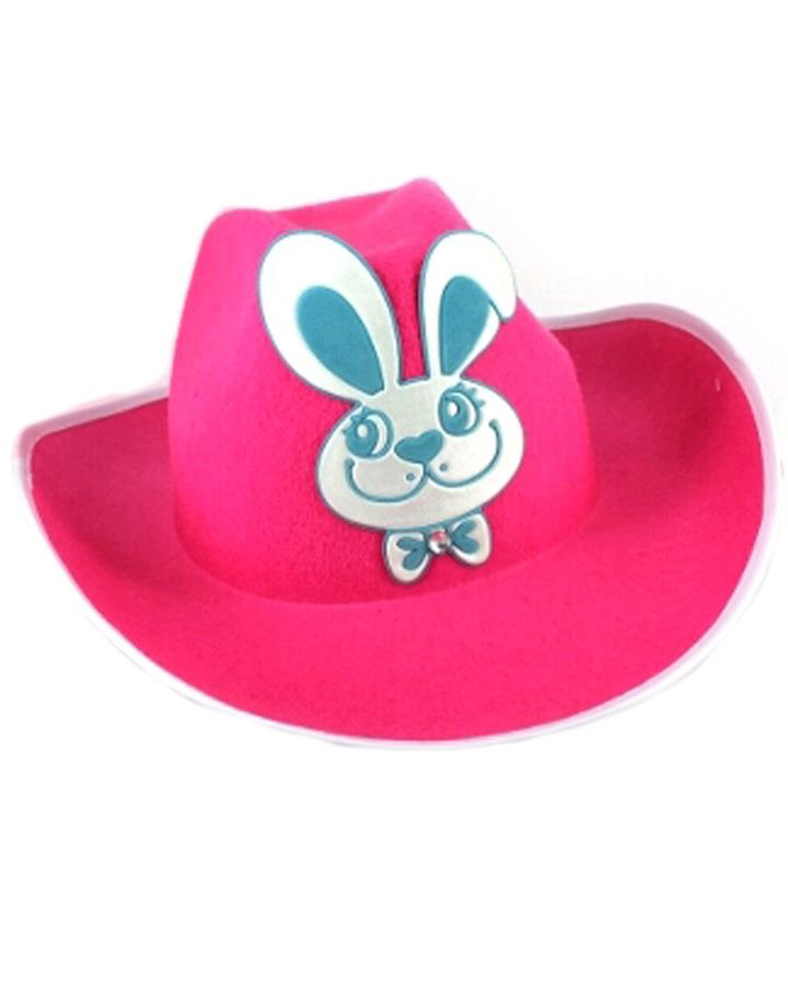 Pink Cowboy Hat with Blue Easter Bunny
