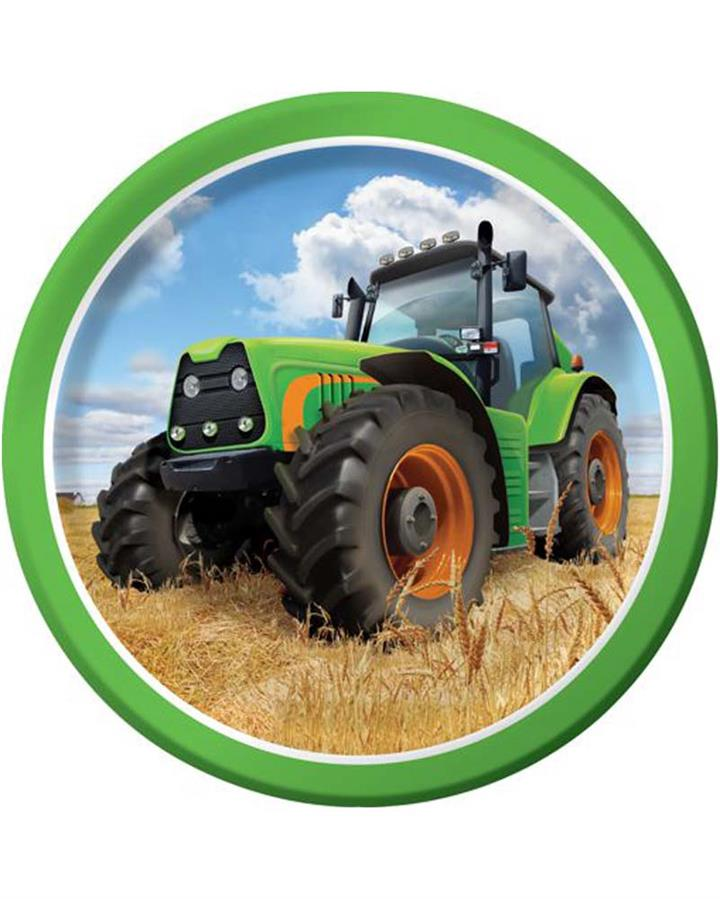 Tractor Time 18cm Paper Plates Pack of 8