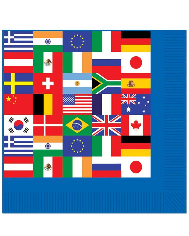 International Flags Lunch Napkins Pack of 16