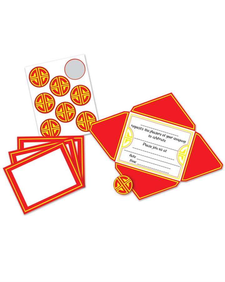Asian Chinese Invitations And Seals Pack of 8