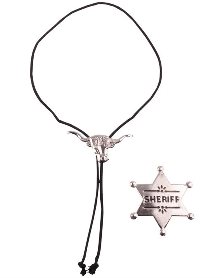 Sheriff Badge and String Tie Set