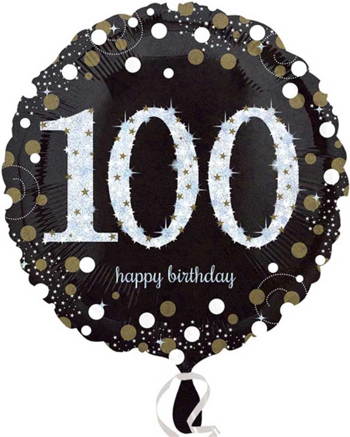 100th Sparkling Holographic Standard Foil Balloon
