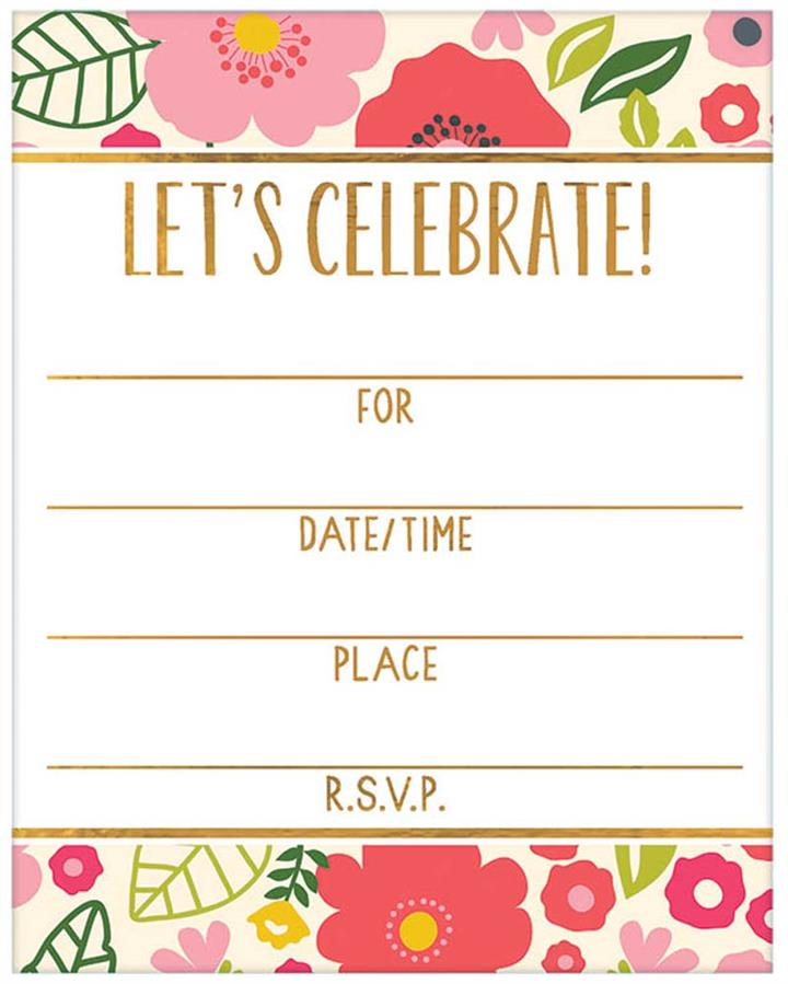Floral Party Invitations Pack of 8