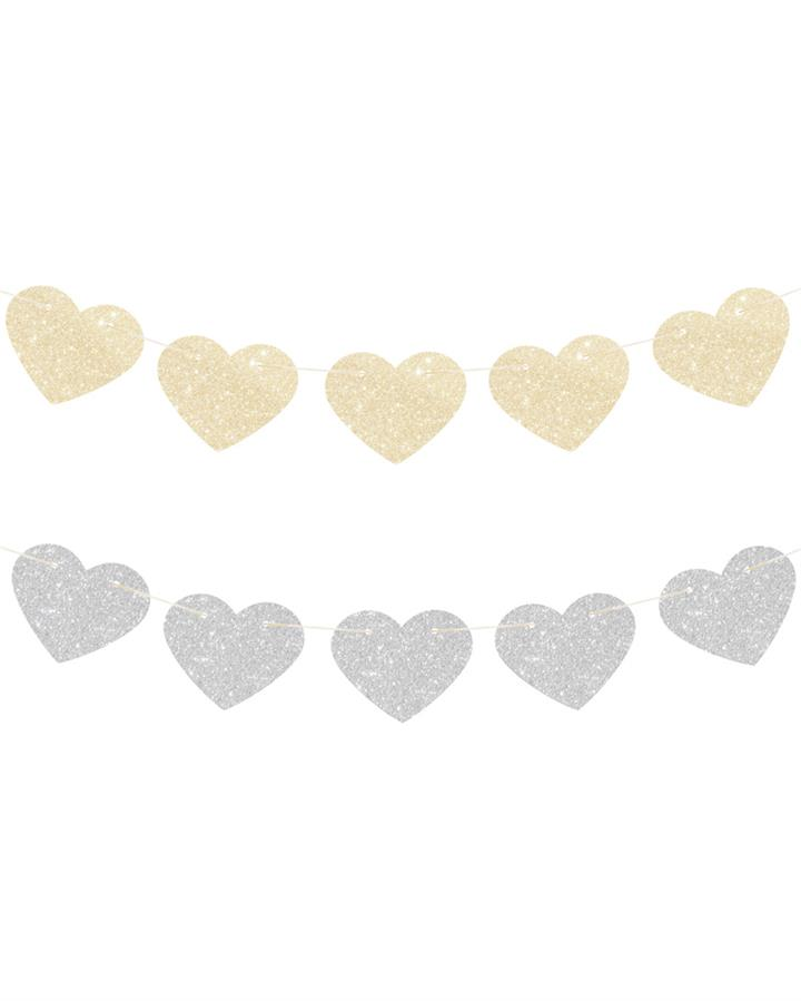 Gold and Silver Glitter Heart Reversible Garland 2m