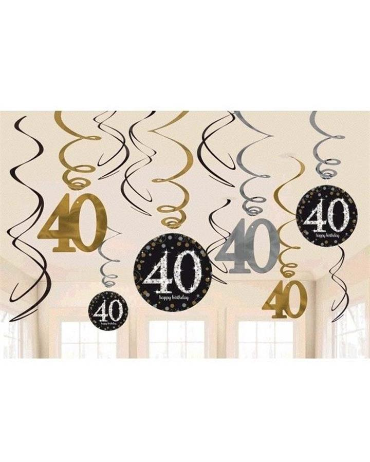 40th Sparkling Celebration Swirls Pack of 12