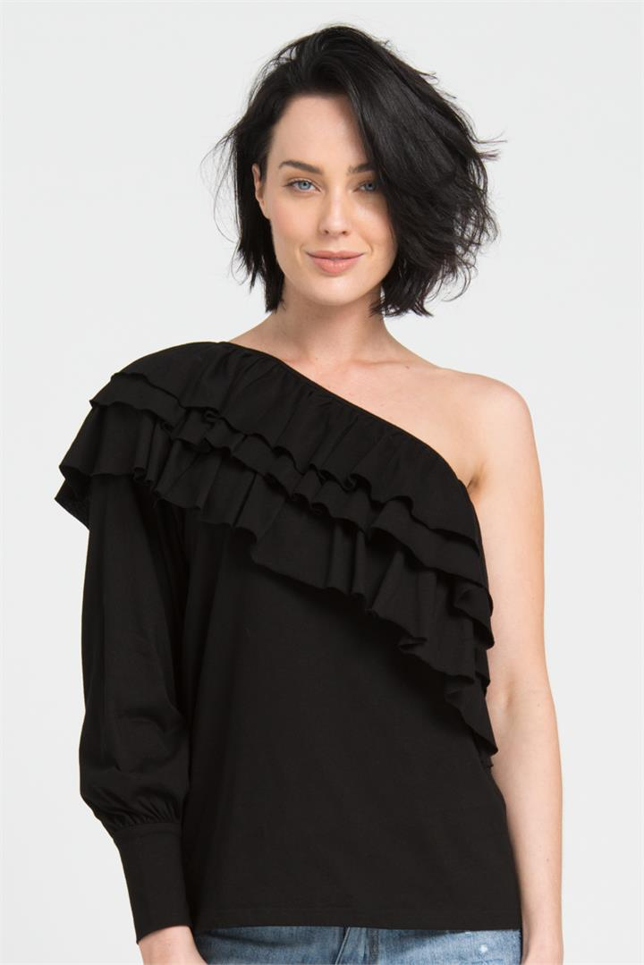 Black One Shoulder Ruffle Top