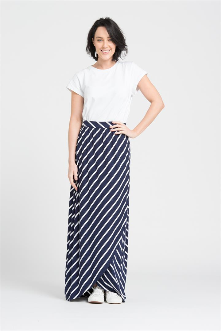 Basic Wrap Skirt in Navy Stripe