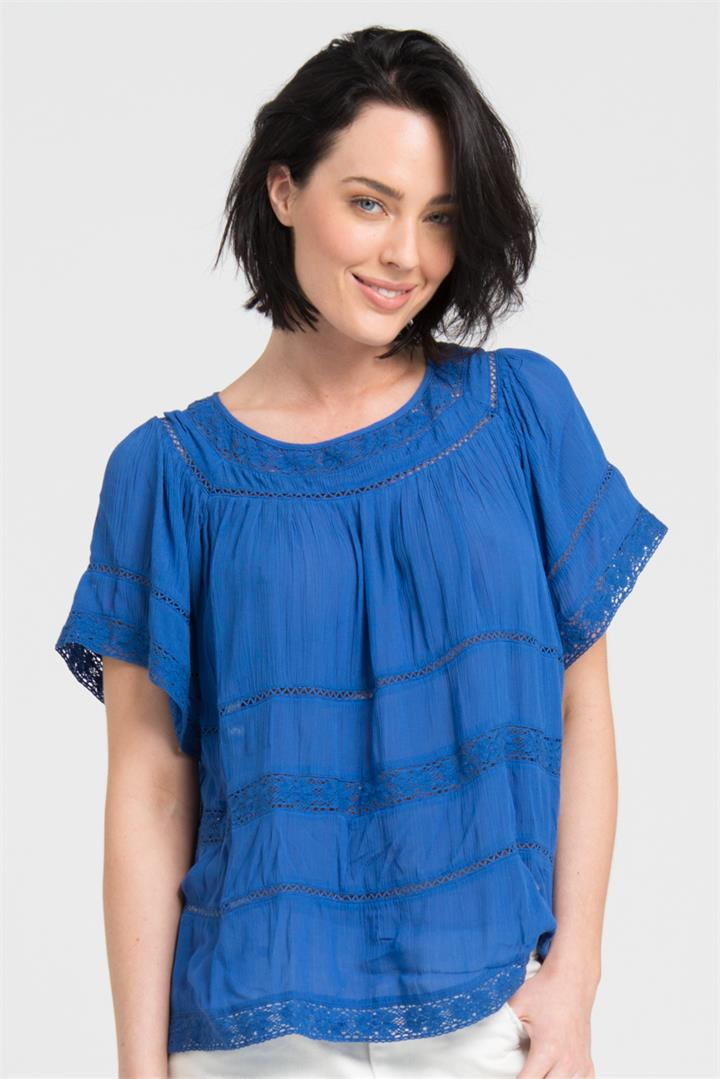 Lace Trim Blouse in Oceanic Blue