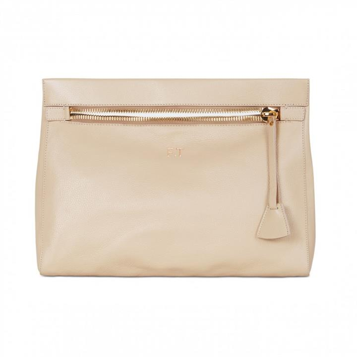 Grainy Leather Oversized Carrier Clutch - Monogrammed Oversized Clutch