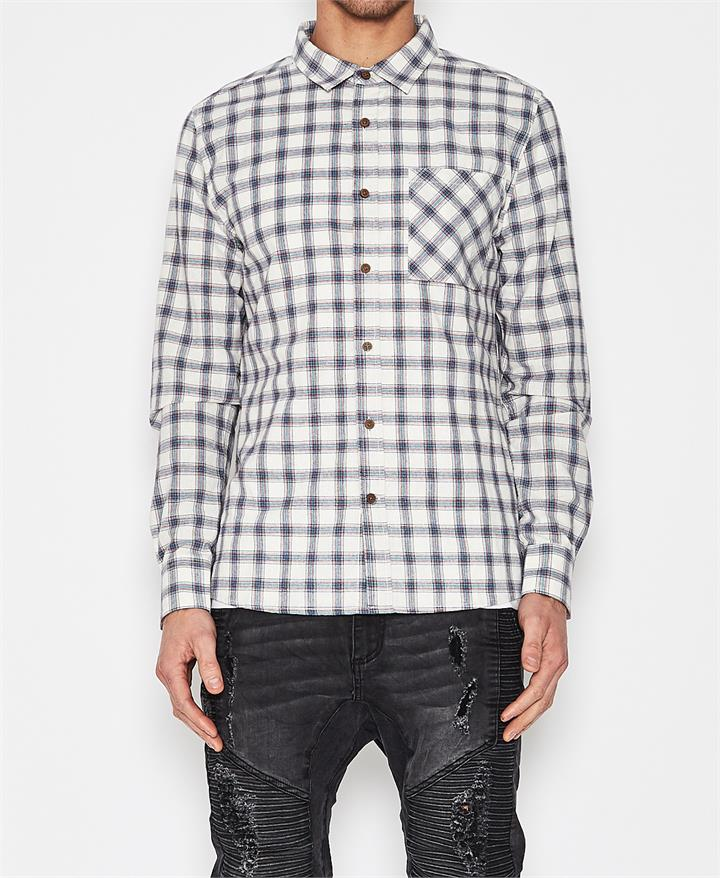 Inventory Long Sleeve Shirt White/Blue Check