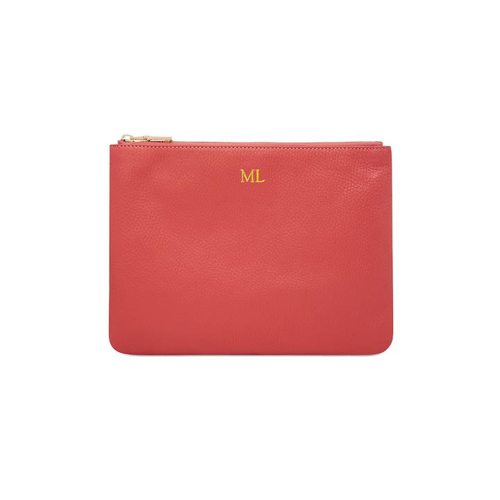Grainy Leather Large Pouch - Monogrammed Leather Large Pouch