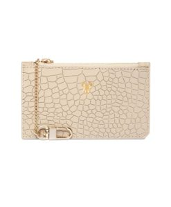Crocodile Emboss Leather Maxi Card Holder with Chain - Monogrammed Maxi Card Holder with Chain
