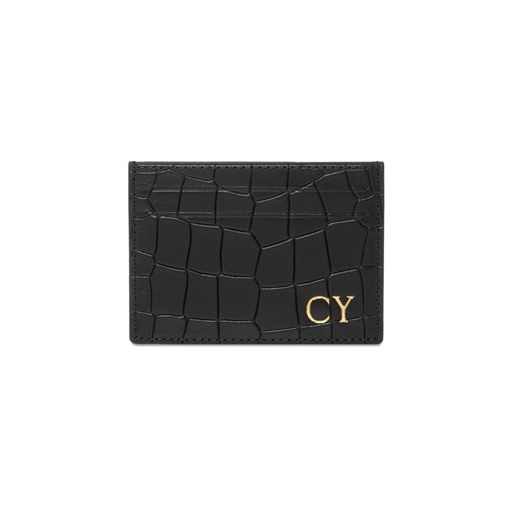 Crocodile Emboss Card Holder - Monogrammed Card Holder
