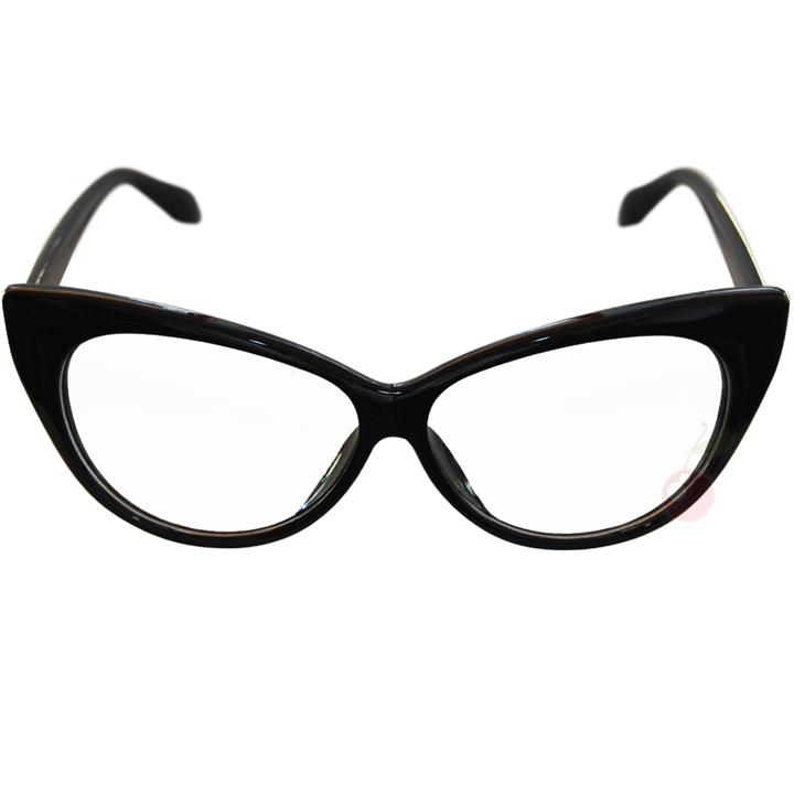 50's Cat Eye Clear Glasses Black Retro Rockabilly Pin Up Costume Grease