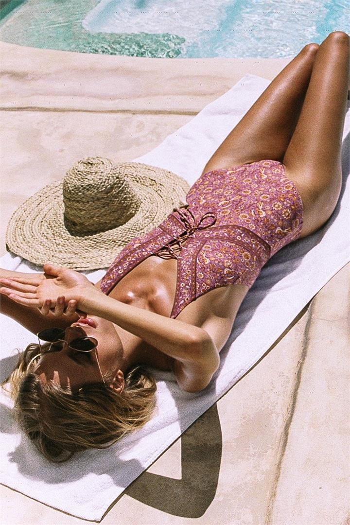 Plum Gypset Lace Up One Piece