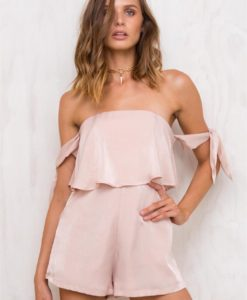Women's 10 Little Lovers Off The Shoulder Romper Blush