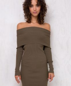 Women's 44 Distractions Off The Shoulder Dress Khaki
