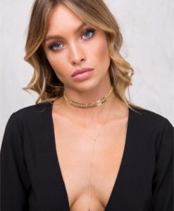 Women's 8 Other Reasons Bone Choker Gold