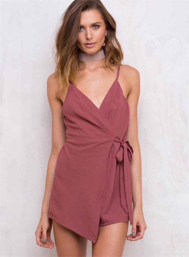 Women's Abbey Road Wrap Playsuit Rose Pink