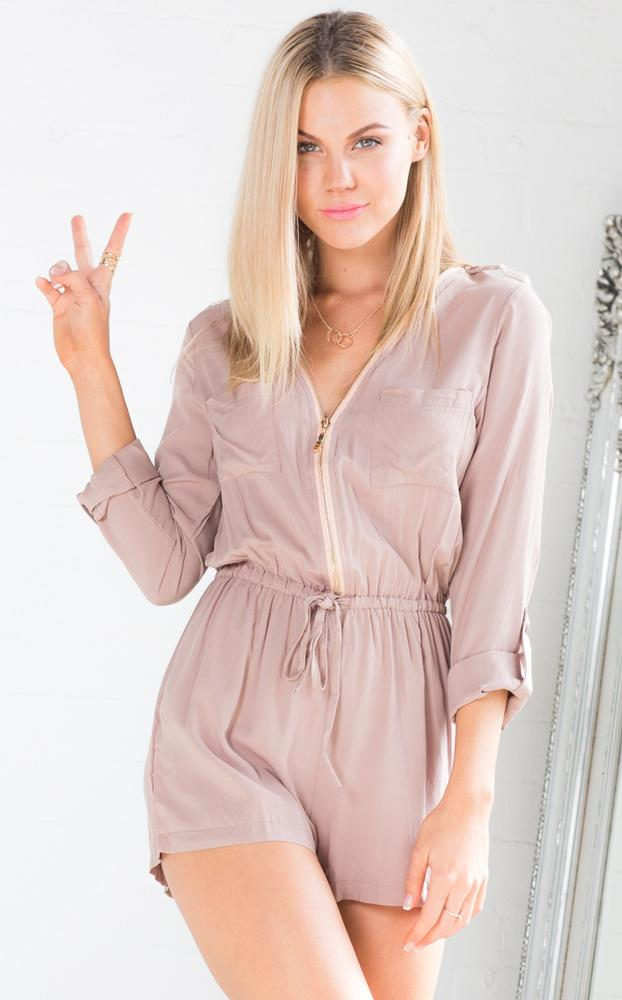 Showpo Carry Away Playsuit in Dusty Pink