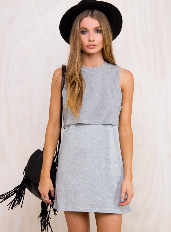 Women's Back Home Dress Grey