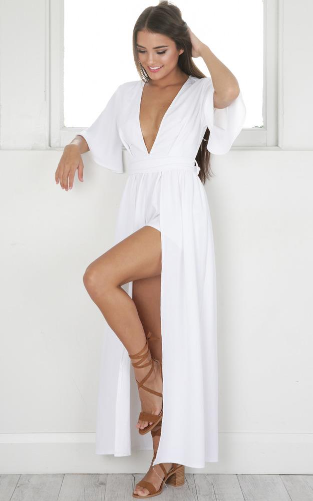 Showpo Your Highness maxi playsuit in white
