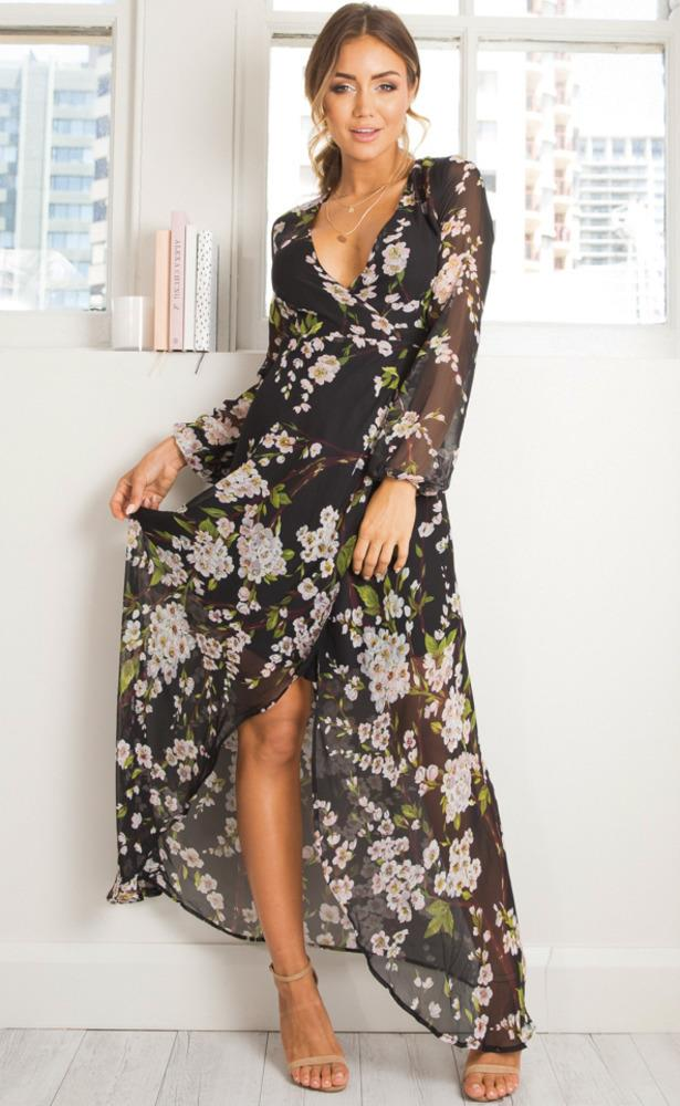 Showpo Autumn Falls maxi dress in black floral