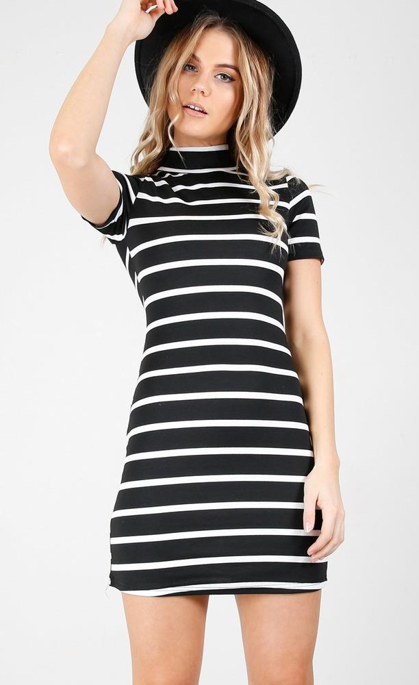 Showpo Can't Live Without dress in  black stripe