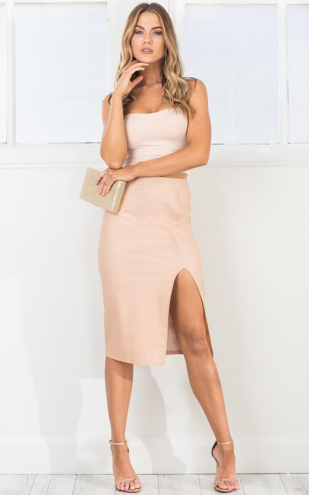 Showpo Bite the Bullet skirt in nude leatherette