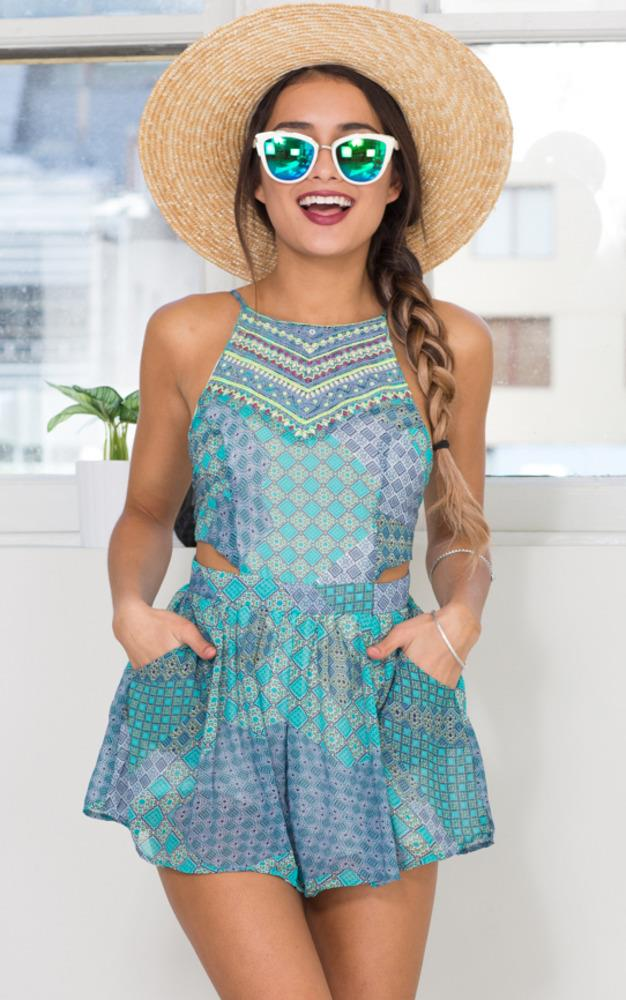 Showpo Under The Sea Playsuit in Green Print