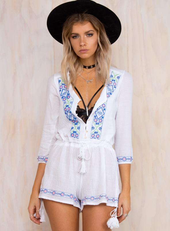 Women's Elysium Fields Linnen Playsuit White