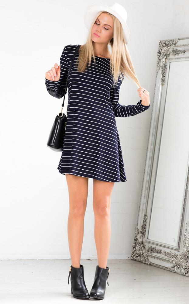 Showpo Come Along Dress in Navy Stripe